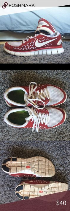 White & Red Nike Frees Gently loved, but still in wearable condition. Lots of miles left in these! Size 8. Some slight discoloration at the top front, shown. If these weren't originally WHITE, they would still look like new. Nike Shoes Sneakers