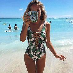 One Piece Print Swimsuit #beachoutfitswomen