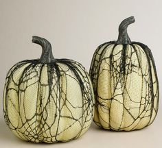 No-carve pumpkin idea: black lace pumpkins