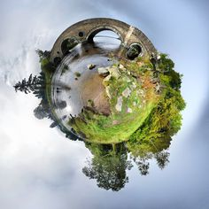 Mini Planets! The work of photographer David Jackson, uses a technique called stereographic projection. In essence, what this means is a rather clever digital manipulation that renders a 360-degree spherical panorama as a flat image.