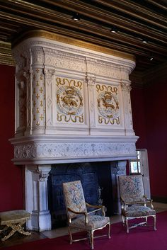 Fireplace, Chateau Chenonceau, France
