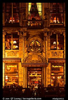 La Chaloupe D'Or Tavern: former tailors guild house, Grand Place, night. Brussels, Belgium by QT Luong...