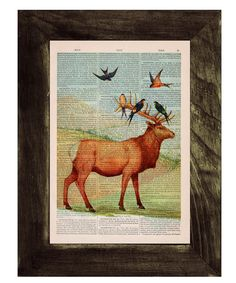 Deer with birds on Upcycled Book page Print Vintage Art by PRRINT, $7.99
