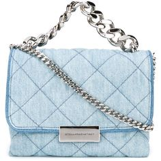 Stella McCartney mini 'Beckett' denim crossbody bag (€790) ❤ liked on Polyvore featuring bags, handbags, shoulder bags, blue, mini crossbody purse, quilted chain shoulder bag, blue crossbody, blue shoulder bag and blue purse