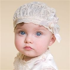 Newborn Girl Hat - Jessica Christening/Baptism Collection - Fancy Gowns & Hats