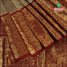 For the cream color lovers, here is the eye catching cream and maroon parampara pattu with self weaved designs. South Indian Bride Saree, Indian Bridal Sarees, Wedding Silk Saree, Indian Silk Sarees, Bridal Lehenga Choli, Pure Silk Sarees, Kanakavalli Sarees, Pattu Sarees Wedding, Kanjivaram Sarees Silk