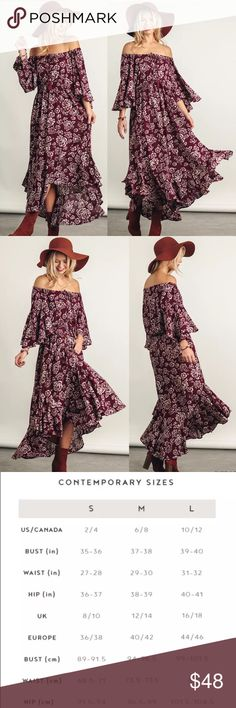"""Off Shoulder Floral Maxi Dress New Style  New without tags   Off shoulder with tassels Maxi Flowly sleeves Floral print 60% Cotton 40% Polyester Hand wash cold water Hang to dry Imported  Measurements S-Bust up to 42"""" Waist 42"""" Length 49"""" long M-Bust up to 44"""" Waist 44"""" Length 49.5"""" long L-Bust up to 46"""" Waist up to 46"""" Length 50"""" long Dresses Maxi"""