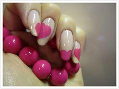 Valentine's Day nails - Pink hearts (via Zigi Ztyle)