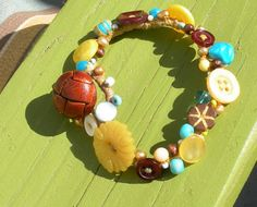 HAND SEWN Bracelet.  Buttons & Beads and lots by Kitsfuncreations, $42.79
