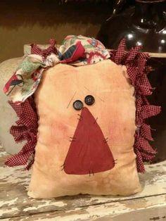 Primitive Pillows, Primitive Stitchery, Primitive Crafts, Country Primitive, Arte Country, Country Crafts, Crafty Projects, Sewing Projects, Fabric Crafts