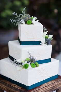 53 Square Wedding Cakes That Wow   I d Marry That   Pinterest     Wedding Cake White Teal Square 3 Tier   White Ranch Wedding Photographer