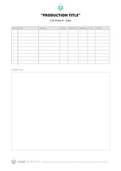 Call Sheet (page 2) A Good Call Sheet Template Will Go A Very Long