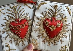 Large Vintage French Sacred Heart Immaculate Heart Embroidered Satin Sacred Heart Coeur de Jesus Scapular Cards by PinyolBoiVintage on Etsy https://www.etsy.com/listing/276369544/large-vintage-french-sacred-heart
