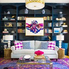 Navy blue bookcase to die for