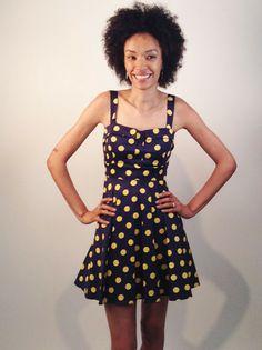 Navy and Yellow Polka Dot Dress   Smak Parlour