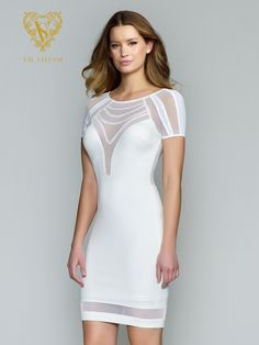 Style 3162RE | Val Stefani Cocktail | Short Bodycon Dress with Illusion Back and Sheer Trim