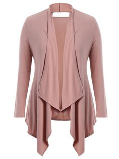 AD : Cut Out Plus Size Shawl Collar Cardigan - PINK   Material: Cotton Blends   Shirt Length: Regular   Sleeves Length: Full   Collar: Shawl Collar   Style: Fashion   Season: Fall,Spring,Summer   Pattern Type: Solid   Weight: 0.4400kg   Package: 1 x Top