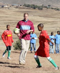 Pin for Later: The Duke and Duchess of Cambridge's Most Precious Moments With Kids  William showed off his skills in a soccer game during a June 2010 visit to a South African children's centre.