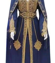 Buy Navy Blue Georgette Islamic Kaftan With Zari And Stone Work islamic-kaftan online Ethiopian Wedding Dress, Fantasy Clothes, Arabian Nights, Stone Work, Tambour, Yoga Retreat, Kaftan, Hijab Fashion, Medieval
