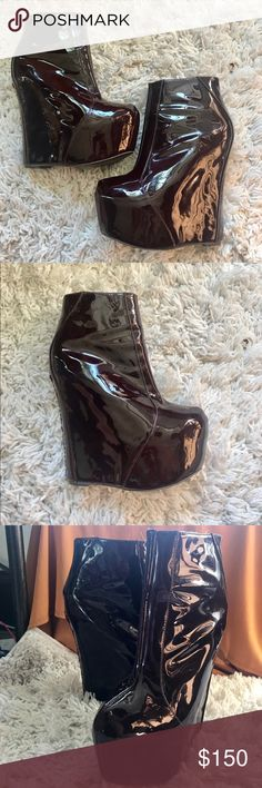 Jeffrey Campbell Maroon Wedge Boot Size 9 Jeffrey Campbell x Brigade boutique special edition wedge booties. Patent leather, Size 9, only worn once, no box, excellent condition. Runs a little small, will fit if you generally wear size 8-8.5 Jeffrey Campbell Shoes Wedges