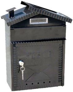 """NACH TX_93EN Chateau Steel Mail Box, Black with Post Stamping and Key by North. $37.71. Wall mounted steel mailbox. Powder-coated paint for maximum rust protection. With secure lock. """"Chateau"""" steel mail box with """"POST"""" stamping will be a safe home for your mail; this mailbox comes with a secure lock and key."""