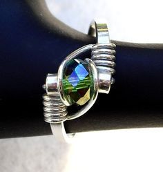 Crystal ring sterling silver wire wrapped handmade for by Nayali, $35.00