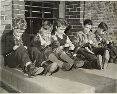 Boy students knitting at Groveland School, St. Paul 1941