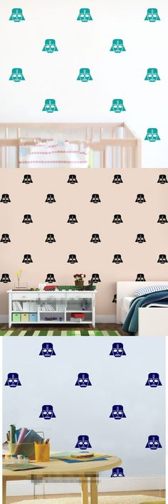 Set 40 Pcs Custom Color Starwars Darth Vader Kids Wall Stickers Nursery Decal Home  Decor Art Vinyl Room Wall Mural Cute  KW-250 $11.9