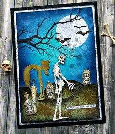 Returned Wanderers - Halloween Scene Building Tutorial - Daydreams In Paper Halloween Zombie, Halloween Shadow Box, Halloween Graveyard, Halloween Tags, Halloween Scene, Holidays Halloween, Halloween Themes, Halloween Crafts, Halloween Decorations