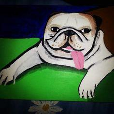 Eerste abstract werk ruim tien jaar oud. Klein canvas engelse bulldog