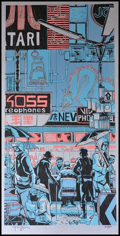 White Dragon Blade Runner Art Print by Tim Doyle Film: Bladerunner Title: 'White Dragon' Designer: Tim Doyle Signed: Hand signed by the artist Format: 4 colour silkscreen print with metalic ink Edition: Limited edition of 280 Size: 12 X 24 inches Cyberpunk Kunst, Cyberpunk 2077, Blade Runner Art, Blade Runner Poster, Blade Runner Wallpaper, Blade Runner 2049, Dragon Blade, Darkside, Japon Illustration