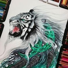 Awesome conceptual piece by @scandy_girl . Follow the artist: @scandy_girl #artbotic #tiger #color #