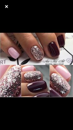 Pretty color combo maybe fingers pink & toes wine color dipped nails, nail manicure, Sns Nails Colors, Fall Nail Colors, Ongles Beiges, Wine Nails, Nagellack Trends, Dipped Nails, Color Street Nails, Holographic Nails, Powder Nails
