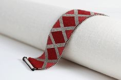 Simple Diamond Bracelet - in Red, Rhubarb, and Silver  - Peyote Stitch with Sterling Silver Clasp
