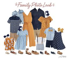 Are you looking for what to wear for family pictures? This mustard yellow, navy and chambray look is perfect! Disney Family Outfits, Fall Family Picture Outfits, Family Photo Colors, Family Portrait Outfits, Family Photos What To Wear, Family Picture Poses, Navy Family Pictures, Family Pics, Family Pictures