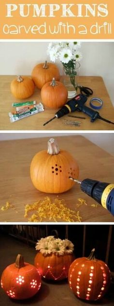 Carve pumpkins with a drill