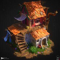 ArtStation - Stylized House Diorama, John Teodoro Prop Design, Game Design, Design Art, Fantasy House, Fantasy Art, Art Isométrique, 3d Modellierung, Deco Gamer, Cartoon House