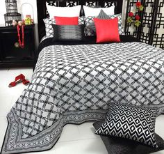 Laurel Black DG37 - Features: Cotton, Quilted, Printed design front, Plain reverse, Cool hand wash, Do not rub, wring, soak or bleach, Lay flat to dry away from direct sunlight, Hot iron reverse side only, Dry cleaning recommended - #coverletsandcomforters