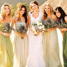 Fade the bridesmaids dresses to different shades of olive? And match the groomsmen ties?