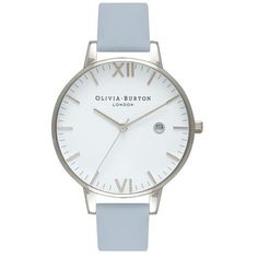 Timeless Chalk Blue and Silver Watch by Olivia Burton (€98) ❤ liked on Polyvore featuring jewelry, watches, silver watches, silver wrist watch, blue silver jewelry, silver jewellery and silver jewelry