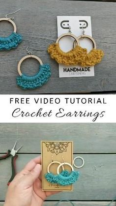 Make a cute pair of #bohochic #crochet hoop earrings with this easy to follow video tutorial. Full video on YouTube, and detailed photo tutorial on my blog 😊 Crochet Earrings Pattern, Crochet Jewelry Patterns, Macrame Patterns, Crochet Accessories, Crochet Jewellery, Jewelry Accessories, Crochet Gifts, Diy Crochet, Tutorial Crochet