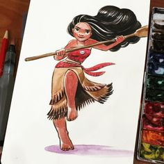Can't believe it's been 5 years since I started working at Disney. I spent the past 9 months drawing this girl and she's almost ready for her first trailer! #moana #disney #workanniversary (at Tea Bar)