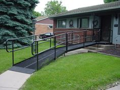 Galvanized Steel Wheelchair Ramps, a great addition to your home or office, our Galvanized Steel Wheelchair Ramps create an access point for wheelchairs, scooters, strollers or anyone who has a difficult time going up and down stairs. They feature an aggressive traction pattern that allows debris to pass through the open grate surface.