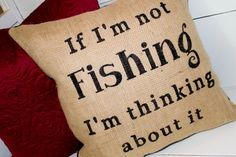 "Stenciled Burlap Pillow - Fishing Pillow - Lake or Cabin Decor - Fishing Decor - 16x16"" - Up North"