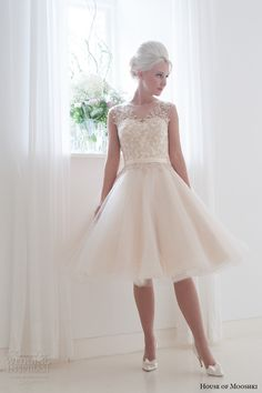 house of mooshki bridal 2015 sleeveless illusion neckline vintage champagne tulle short wedding dress style lottie full