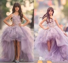 New 2017 Girls Pageant Dresses Princess Tulle High Low Length Lace Appliques Lilac Kids Flower Girls Dress Ball Gown Cheap Birthday Gowns Designer Dresses For Girls Designs Of Gowns From Haiyan4419, $92.47  Dhgate.Com