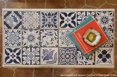 How to Stencil: Vintage Tile Table Top with Chalk Paint – Royal Design Studio Stencils Stencil Table Top, Stenciled Table, Stenciled Floor, Stencil Diy, Stencil Painting, Tile Stencils, Stenciling, Diy Table Top, Table Top Design