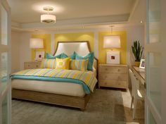 Yellow and blue bedroom ideas view in gallery small and chic bedroom in yellow and turquoise . yellow and blue bedroom ideas Turquoise Bedding, Bedroom Turquoise, Yellow Bedding, Gray Bedroom, Home Decor Bedroom, Bedroom Yellow, Yellow Turquoise, Bedroom Ideas, Blue Yellow