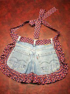 Avental curto de calça jeans reciclada!