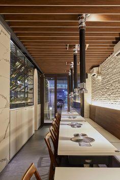 slide image Korean Bbq Restaurant, Restaurant Lounge, Restaurant Design, Japanese Buffet, Barbecue Design, Japanese Store, Hospitality Design, Nordic Design, Interior Design